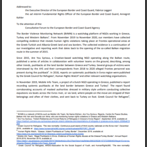 Letter of concern to Frontex