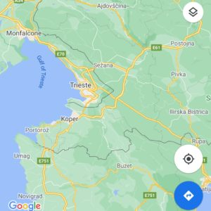 Map of the area surrounding Trieste